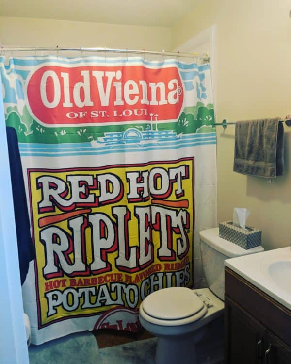 Shower Curtain with Old Vienna Red Hot Riplets Logo